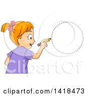 Clipart Of A Red Haired Caucasian School Girl Drawing A Circle Shape Royalty Free Vector Illustration by BNP Design Studio