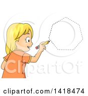 Clipart Of A Blond Caucasian School Girl Drawing A Heptagon Shape Royalty Free Vector Illustration
