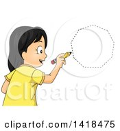 Clipart Of A School Girl Drawing A Heptagon Or Nonagon Shape Royalty Free Vector Illustration