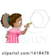 Clipart Of A Blond Caucasian School Girl Drawing A Hexagon Shape Royalty Free Vector Illustration