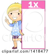 Clipart Of A Blond Caucasian School Girl Beside A 1 Times Table Royalty Free Vector Illustration