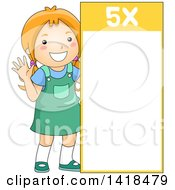 Clipart Of A Red Haired Caucasian School Girl Beside A 5 Times Table Royalty Free Vector Illustration
