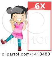 Clipart Of A Happy Asian School Girl Beside A 6 Times Table Royalty Free Vector Illustration