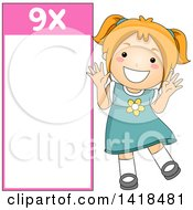 Clipart Of A Red Haired Caucasian School Girl Beside A 9 Times Table Royalty Free Vector Illustration
