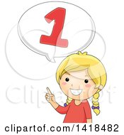 Clipart Of A Blond Caucasian School Girl Counting And Saying Number 1 Royalty Free Vector Illustration