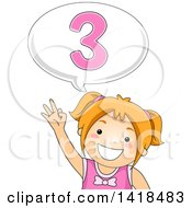 Clipart Of A Red Haired Caucasian School Girl Counting And Saying Number 3 Royalty Free Vector Illustration