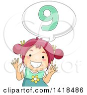 Clipart Of A Red Haired Caucasian School Girl Counting And Saying Number 9 Royalty Free Vector Illustration