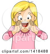 Clipart Of A Blond Caucasian Girl Shouting And Framing Her Mouth Royalty Free Vector Illustration