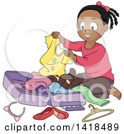 Clipart Of A Happy African Girl Packing A Suitcase Royalty Free Vector Illustration