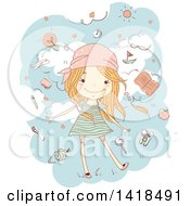 Clipart Of A Sketched Red Haired Caucasian Girl Surrounded By Travel Items In The Sky Royalty Free Vector Illustration by BNP Design Studio