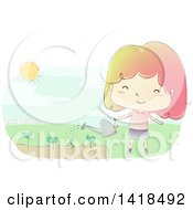 Clipart Of A Sketched Happy Girl Watering A Garden Royalty Free Vector Illustration