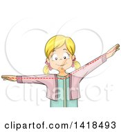 Clipart Of A Happy Blond Caucasian School Girl Showing An Obtuse Angle Royalty Free Vector Illustration