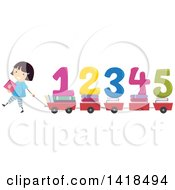 Clipart Of A School Girl Pulling Wagons Or Carts With Books And Numbers Royalty Free Vector Illustration by BNP Design Studio