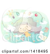 Clipart Of A Sketched Girl With Numbers Letters And Education Items In The Sky Royalty Free Vector Illustration