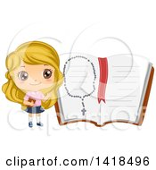 Clipart Of A Blond Caucasian Girl By A Giant Open Bible With A Rosary Royalty Free Vector Illustration