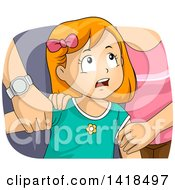 Clipart Of A Worried Red Haired Caucasian Girl Being Fought Over By Her Parents Royalty Free Vector Illustration by BNP Design Studio