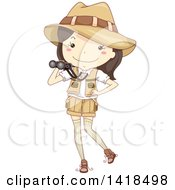 Clipart Of A Sketched Safari Girl Holding Binoculars Royalty Free Vector Illustration by BNP Design Studio