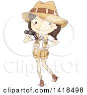 Sketched Safari Girl Holding Binoculars