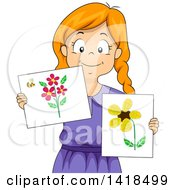 Clipart Of A Creative Red Haired Caucasian Girl Showing Artwork From Scrap Materials Royalty Free Vector Illustration