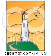 Path Leading To A White Lighthouse And Two Seagulls Flying Past During An Orange Sunset Clipart Illustration