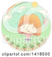 Clipart Of A Sketched Red Haired Caucasian Girl In Her Beet Garden Royalty Free Vector Illustration
