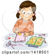 Clipart Of A Brunette Caucasian Girl Making Cards Royalty Free Vector Illustration