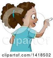 Clipart Of A Smart African Girl Writing With Chalk Royalty Free Vector Illustration