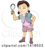 Clipart Of A Brunette Caucasian Girl Looking Through A Magnifying Glass Royalty Free Vector Illustration