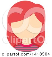 Clipart Of A Faceless White Girl With Pink Hair Royalty Free Vector Illustration