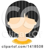 Clipart Of A Faceless Asian Girl With Black Striped Hair Royalty Free Vector Illustration