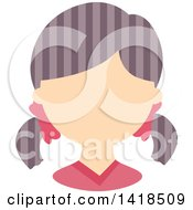 Clipart Of A Faceless Girl With Purple Hair In Braids Royalty Free Vector Illustration