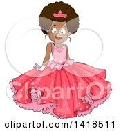 Clipart Of A Pretty African American Girl In A Pink Princess Dress Royalty Free Vector Illustration