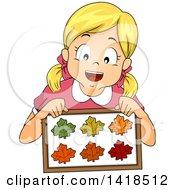 Clipart Of A Blond Caucasian Girl Holding A Collection Of Framed Leaves Royalty Free Vector Illustration