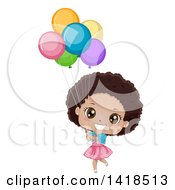 Clipart Of A Happy African Girl Holding Colorful Party Balloons Royalty Free Vector Illustration by BNP Design Studio