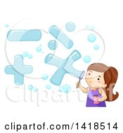 Clipart Of A Brunette Caucasian Girl Blowing Math Symbol Bubbles Royalty Free Vector Illustration
