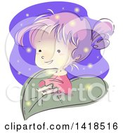 Clipart Of A Sketched Girl On A Giant Leaf With Fireflies Royalty Free Vector Illustration by BNP Design Studio