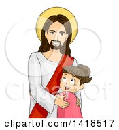 Clipart Of A Brunette Caucasian Girl Hugging Jesus Royalty Free Vector Illustration
