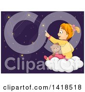 Clipart Of A Red Haired Caucasian Girl Sitting With A Teddy Bear On A Cloud And Tracing The Constellations Royalty Free Vector Illustration