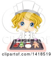 Clipart Of A Blond Caucasian Chef Girl Holding A Tray With Christmas Cookies Royalty Free Vector Illustration