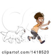 Clipart Of A Happy African Girl Playing Chase With Her Dog Royalty Free Vector Illustration