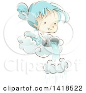 Clipart Of A Sketched Girl Pouring A Bucket Of Water Through A Cloud To Make Rain Royalty Free Vector Illustration by BNP Design Studio