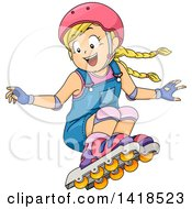 Clipart Of A Blond Caucasian Girl Jumping And Roller Blading Royalty Free Vector Illustration