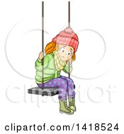 Clipart Of A Sad Red Haired Caucasian Girl In Winter Clothes Sitting On A Swing Royalty Free Vector Illustration