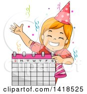 Clipart Of A Happy Red Haired Caucasian Girl Scheduling A Birthday Party Royalty Free Vector Illustration