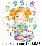 Clipart Of A Smart Red Haired Caucasian School Girl Solving Math Problems Royalty Free Vector Illustration