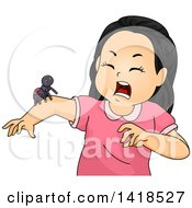 Clipart Of A Scared Girl With A Spider On Her Arm Royalty Free Vector Illustration by BNP Design Studio
