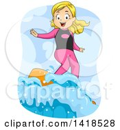 Clipart Of A Blond Caucasian Girl Surfing Royalty Free Vector Illustration by BNP Design Studio