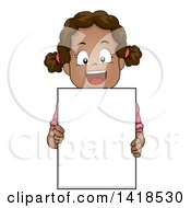 Clipart Of A Happy African Girl Holding A Blank Sign Royalty Free Vector Illustration