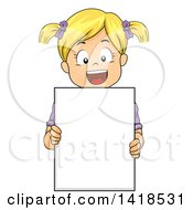 Clipart Of A Happy Blond Caucasian Girl Holding A Blank Sign Royalty Free Vector Illustration