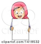 Clipart Of A Happy Muslim Girl Holding A Blank Sign Royalty Free Vector Illustration